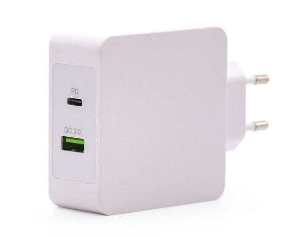 TooQ Cargador de Pared Doble Puerto USB-C/USB 3.0 48W Carga Rápida Blanco