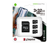 Kingston MicroSD 32GB Canvas Select Plus con Adaptador Pack de 3 Unidades