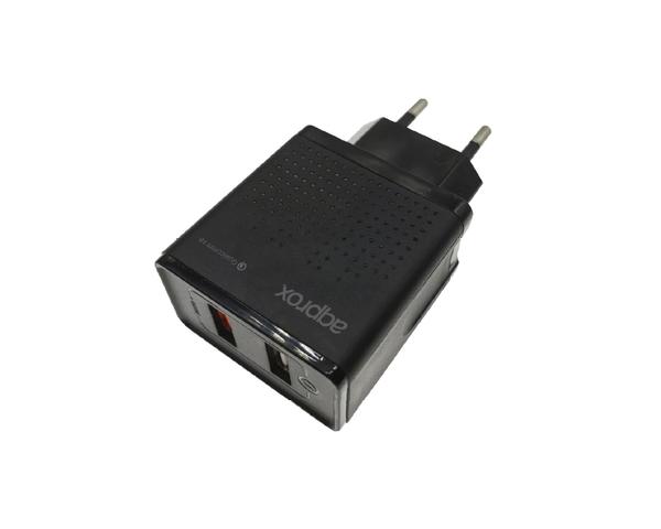 Approx Cargador USB de viaje/pared doble USB 3.0 Carga Rápida + USB Normal