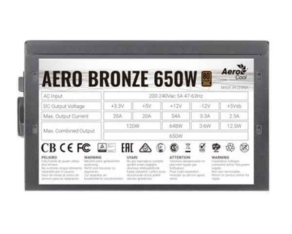 Aerocool AERO Fuente de Alimentación 650W 80 Plus Bronze