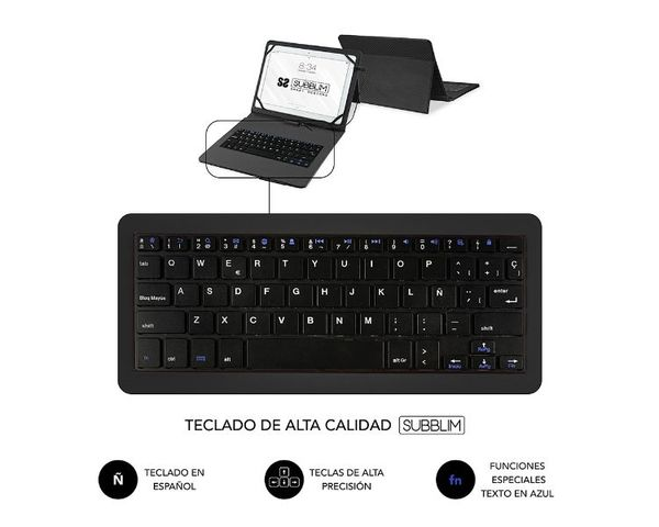 "Subblim Funda Con Teclado Keytab Pro MicroUSB para Tablets 10.1"" Negro"