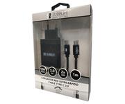 Subblim Cargador de Pared USB 2.4A + Cable USB-C Negro