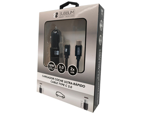 Subblim Cargador de Coche 2xUSB + Cable USB-C Negro