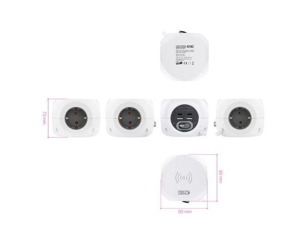 Nanocable Base 3 enchufes con interruptor + 4 x USB + Carga Inalámbrica Blanco